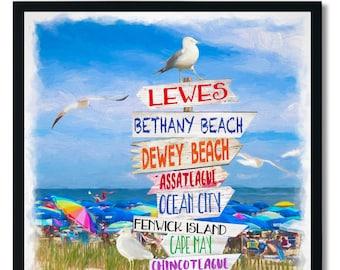 Bethany Beach, Dewey, Lewes, Ocean City, Bethany, Cape May, Rehoboth Beach Sign