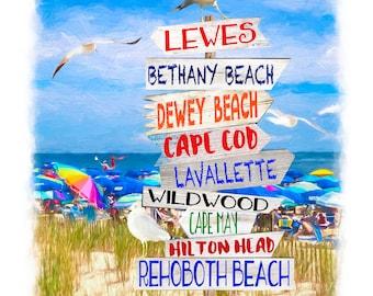 Directional Beach Sign Special Order 11x14, Rehoboth Beach, Delaware, by Rehoboth Beach Artist Susan Thornberg