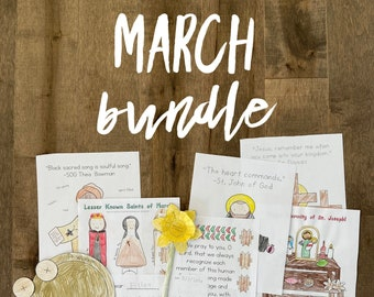 MARCH BUNDLE lazy liturgical living activity sheets coloring pages for kids adults pdf homeschool printables curriculum catholic