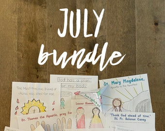 JULY BUNDLE lazy liturgical living activity sheets coloring pages for kids adults pdf homeschool printables curriculum catholic