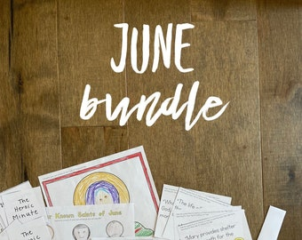 JUNE BUNDLE lazy liturgical living activity sheets coloring pages for kids adults pdf homeschool printables curriculum catholic