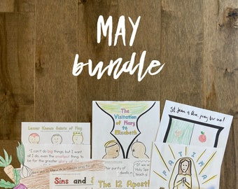 MAY BUNDLE lazy liturgical living activity sheets coloring pages for kids adults pdf homeschool printables curriculum catholic