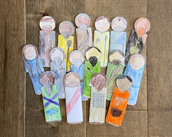 12 Apostles disciples Bible story finger puppets worksheet printable coloring page sheet catholic resources for kids prayer activities jesus