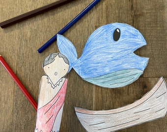Jonah and the whale Bible story finger puppets worksheet printable coloring page sheet catholic resources for kids prayer activities jesus