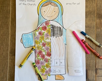 Mary Mother of the Church printable coloring page sheet lazy liturgical year catholic resources for kids feast day prayer activities jesus