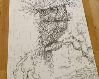 Regal Owl original drawing