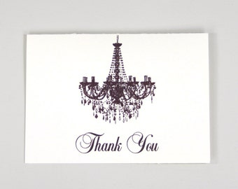 Elegant Chandelier Script Folded Wedding Thank You Card // A2 Broadfold Thank You card with Envelope