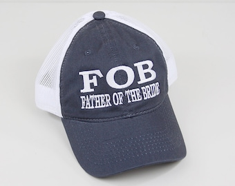 Father of the Bride Embroidered Hat    Bridal Party Trucker Mesh  Unstructured Hat 7118cc0564f9