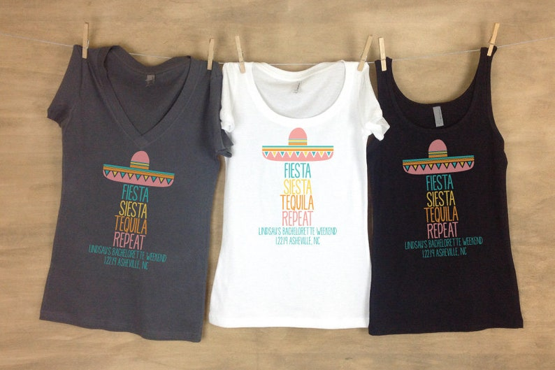 df9cfdc91 Fiesta Siesta Tequila Repeat Sombrero Bachelorette Shirt | Etsy