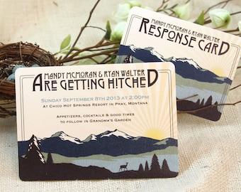 Rocky Mountains 5x7 Craftsman Invitation with RSVP Postcard & Envelope: Get Started Deposit or DIY Payment