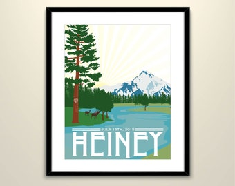 Mt Jefferson (Head of the Metolius) Vintage Wedding Poster//11x14 Poster - Personalize with Names and wedding date  (frame not included)