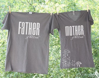 Classic Father and Mother of the Bride Matching Shirts - FOB MOB - two shirts- 20L 20M