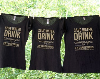 Save Water, Drink Champagne Personalized Bachelorette Party Shirts - Sets