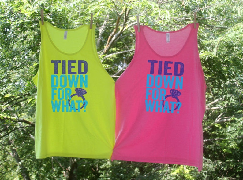 006fd07af8bc90 Tied Down For What   Bachelorette Party Beach Tanks   Matching