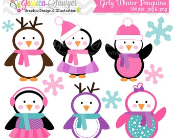 INSTANT DOWNLOAD Girly Winter Penguin Clipart Holiday Penguins Clip Art For Commercial Use Personal Invites Cards Scrapbooking
