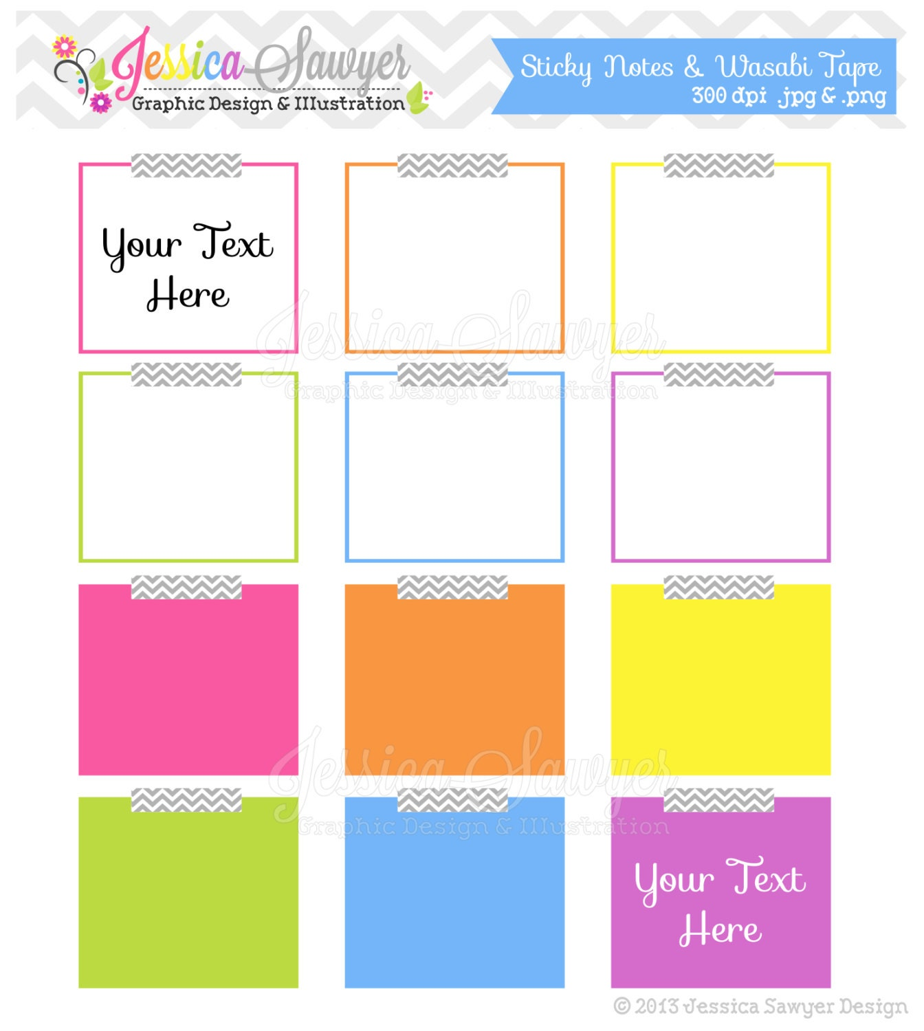 INSTANT DOWNLOAD sticky note clipart digital frame teacher ...