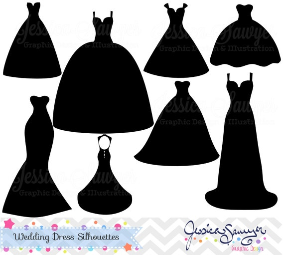 instant download wedding dress clipart silhouette clipart etsy rh etsy com wedding dress clipart black and white wedding dress clipart black and white