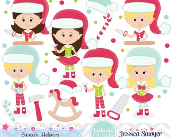 INSTANT DOWNLOAD, Christmas elf clipart and vectors for personal and commercial use