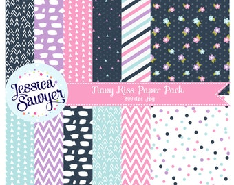 INSTANT DOWNLOAD, navy blue and pink digital papers or pink and orange backgrounds