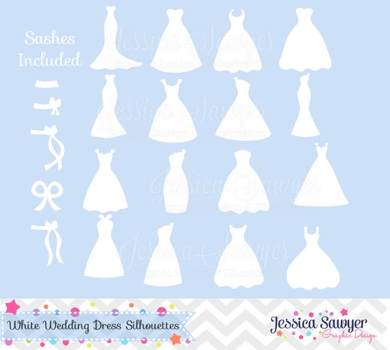 Wedding Dress Silhouette: INSTANT DOWNLOAD, White Bridesmaid Dresses Silhouettes