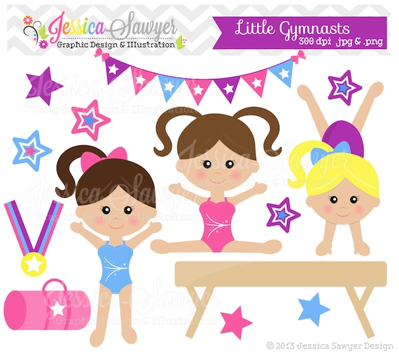 INSTANT DOWNLOAD, little tumblers clip art or girls gymnastics clip