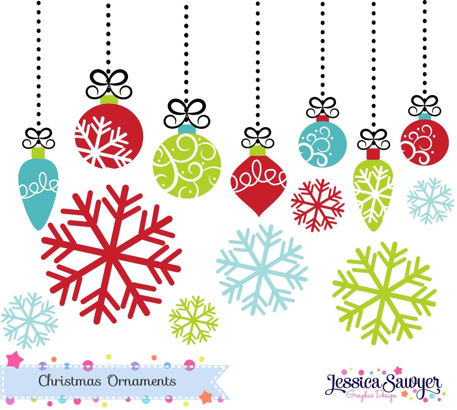 INSTANT DOWNLOAD bright christmas ornament clipart or | Etsy