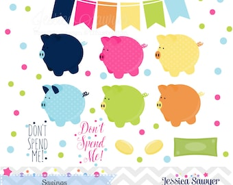 INSTANT DOWNLOAD, piggy bank clipart and money saving vectors for personal and commercial use
