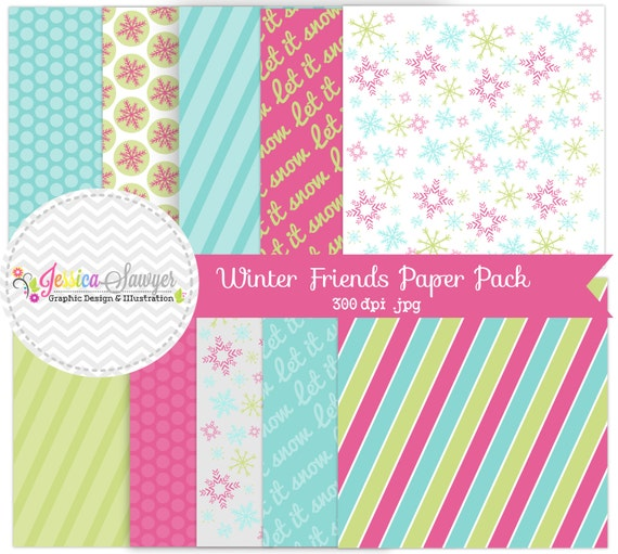 Instant Download Winter Digital Papers Snowflake Digital Backgrounds For Digital Scrapbooking Greeting Cards Website Backgrounds By Jessica Sawyer Design Catch My Party
