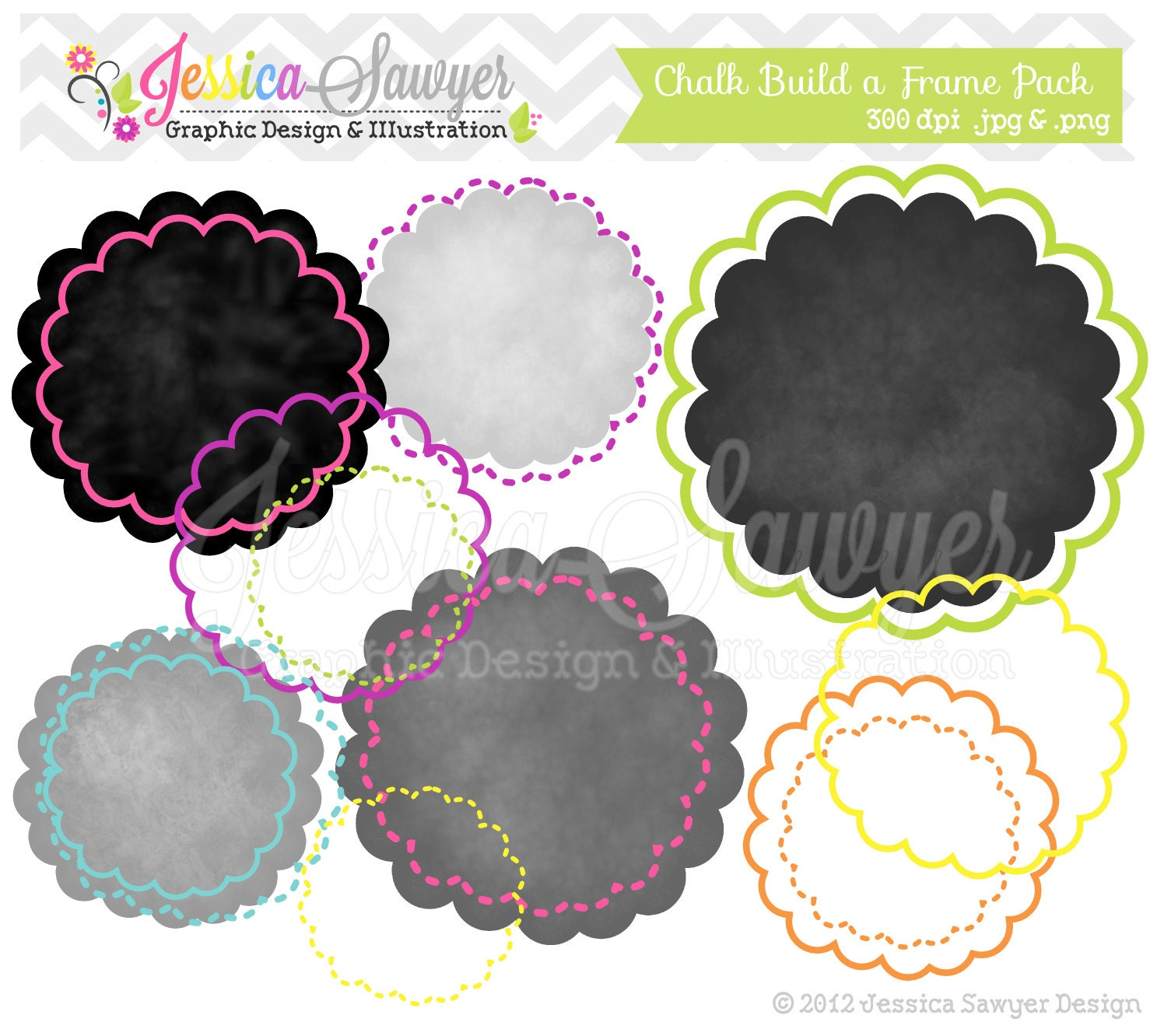 INSTANT DOWNLOAD build a circle chalk digital frame round | Etsy