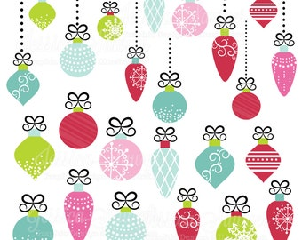 INSTANT DOWNLOAD, christmas ornament clipart for personal and  commercial use