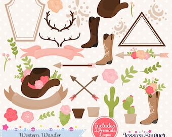 INSTANT DOWNLOAD, western clipart and vectors for personal and commercial use