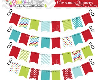 INSTANT DOWNLOAD, christmas bunting banner clipart for commercial and personal use