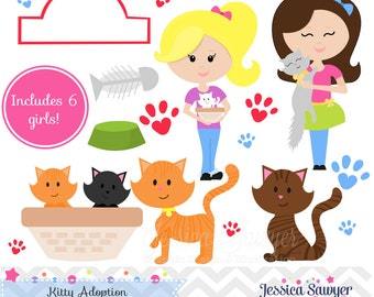 INSTANT DOWNLOAD, cat adoption clipart or kitty adoption clip art for an adoption party. Personal or commerical use