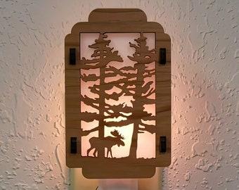 Moose Night Light with Pine Tree sides