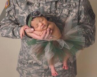 95b59392bf9e4 Newborn Army Camo Tutu and Headband Set