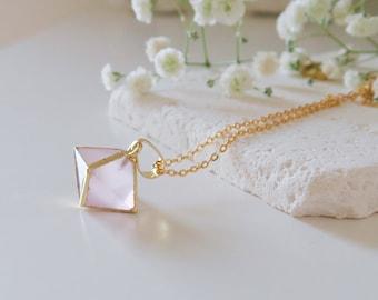 Rose Quartz Pendant Necklace | Rose Quartz Necklace | Rose Quartz Jewelry | Rose Quartz Jewellery | Gift for wife | bestselling necklace