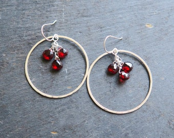 Garnet Hoop Earrings in silver or gold | Garnet Earrings | Garnet birthstone earrings | January birthstone earrings | Garnet Birthstone