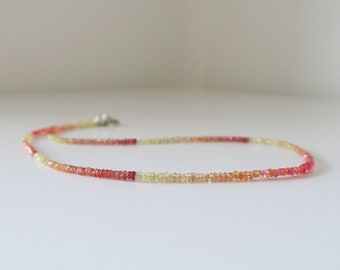 Songea Sapphire Necklace - crystal necklace - amber - mom gift for her - dainty necklace - delicate jewelry - layering necklace - ombre