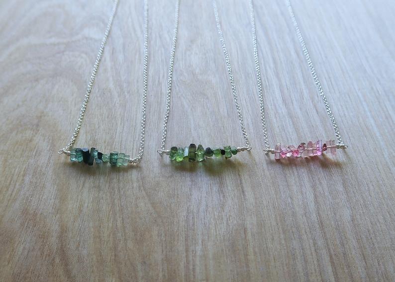 raw crystal raw gemstone layering necklace gift for girlfriend Raw Tourmaline Necklace tiny gemstone,mum gift dainty gemstone necklace