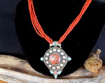 Unique Tibetan Tribal Necklace Boho Necklace .Tribal Necklace Desing Statement Necklace with Antique India /& Africa Beads Tibetan Style