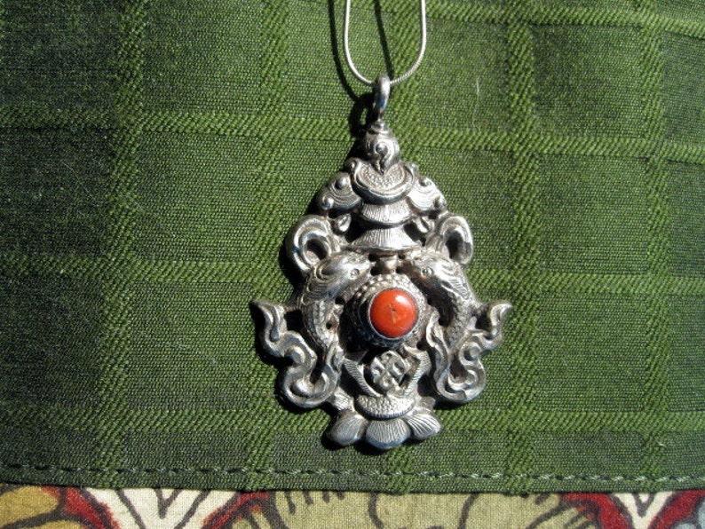 Silver and Coral Matsyyugma.Tibetan Pendant.