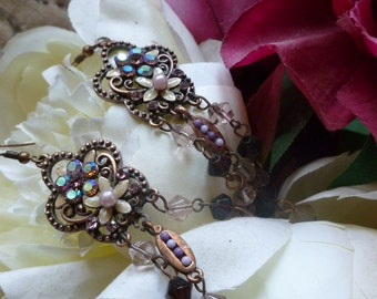 Romantic Victorian Style Chandelier Crystal and Enamel Earrings