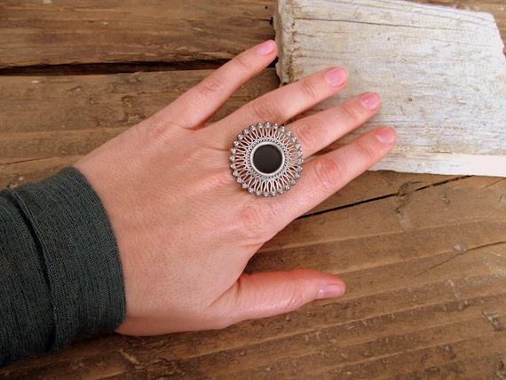 Tribal India parasol silver ring - image 5