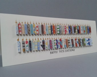 70th, 71st, 72nd, 73rd, 74th, 75th, 76th, 77th, 78th, 79th Birthday Candle Card, Can be personalised with a name on the front.