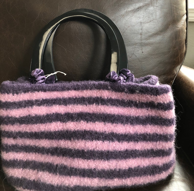 Hand Knitted PurplePink Striped Felted Bag with Multi Color Felted Flowers Custom Plush Blue Velvet Lining