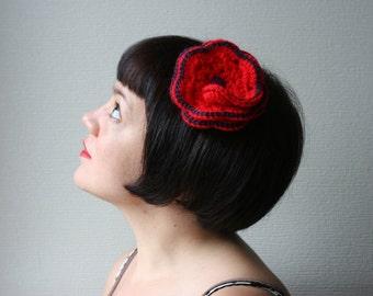 hand crocheted red flower fascinator