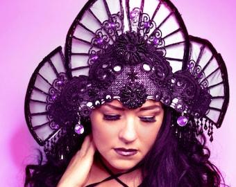 Art Deco Black velvet Geisha purple fan headpiece fascinator hat headpiece,high fashion accessory