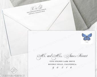 Custom Printed Wedding and Save the Date Digital Calligraphy Envelope Recipient Addressing Services - Font: Puttin' on the Ritz