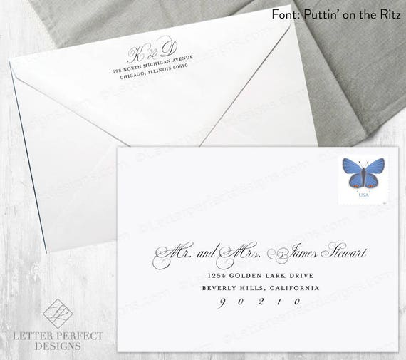 Custom Wedding And Save The Date Digital Calligraphy Envelope Etsy