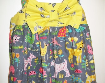 Childs Romper - Cats and Dogs - Gray and Citron - 2T Ready to Ship